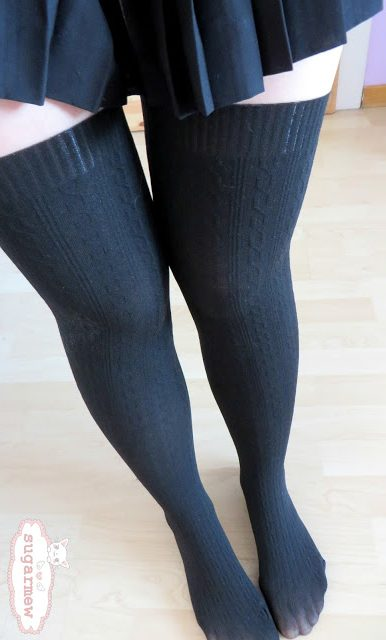 111784a79 These faux tights are beautiful in their own way. They feature black knit  pattern up your knees to make sure they look like thigh high socks.