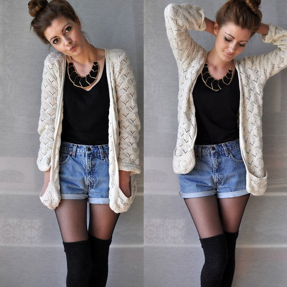 thigh high socks with shorts