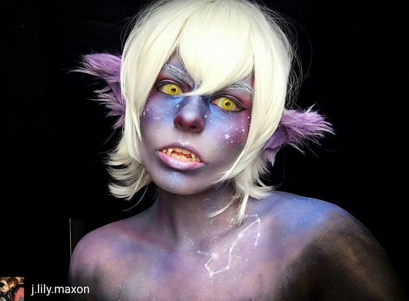 Galaxy Galra Keith Makeup with Yellow Halloween Circle Lenses