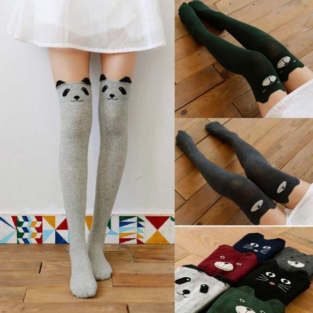 cotton thigh high socks totoro