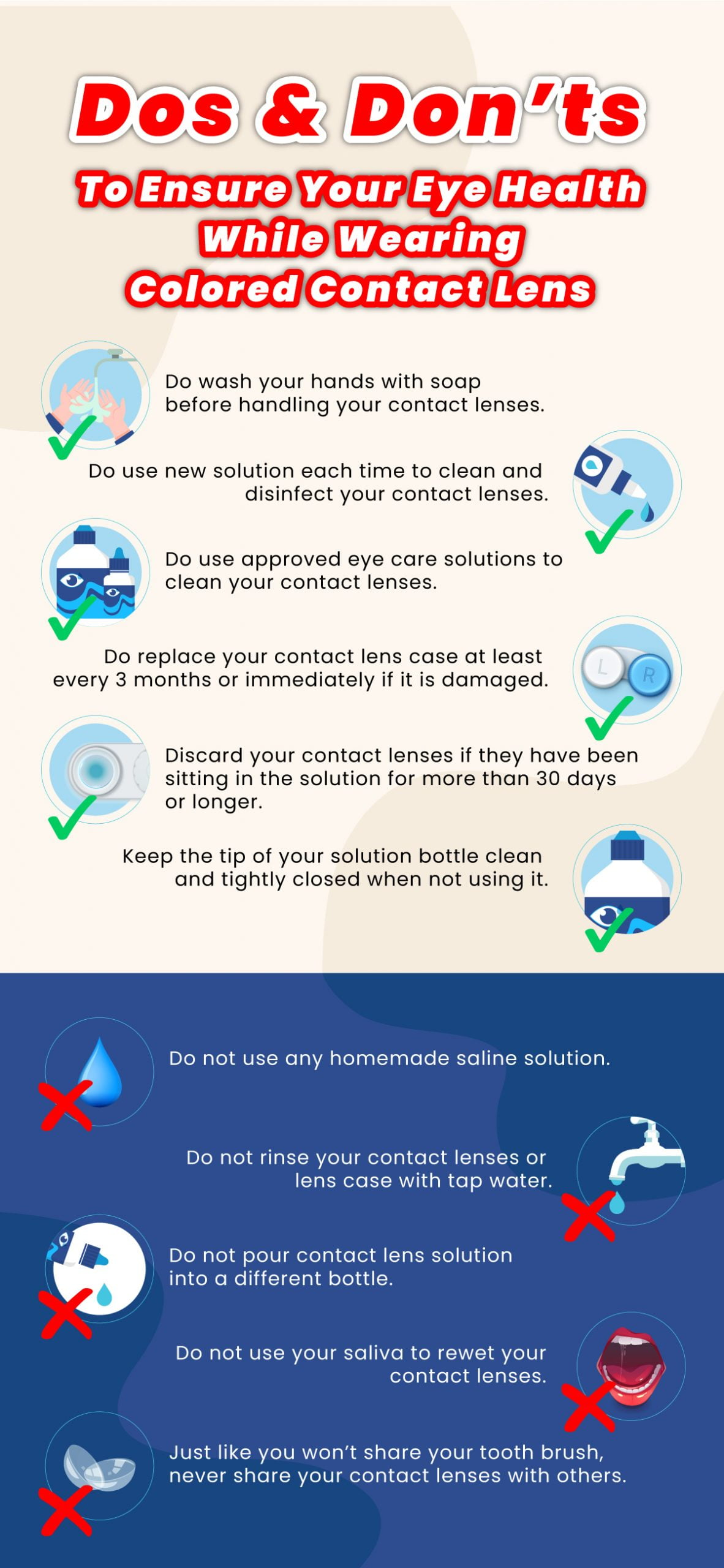 Dos and Don'ts to ensure your eye health while wearing colored contact lens:
