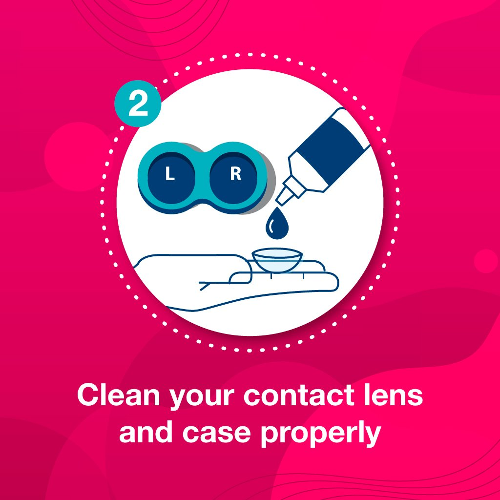 Clean your contact lens and case properly to prevent contact lenses hurt