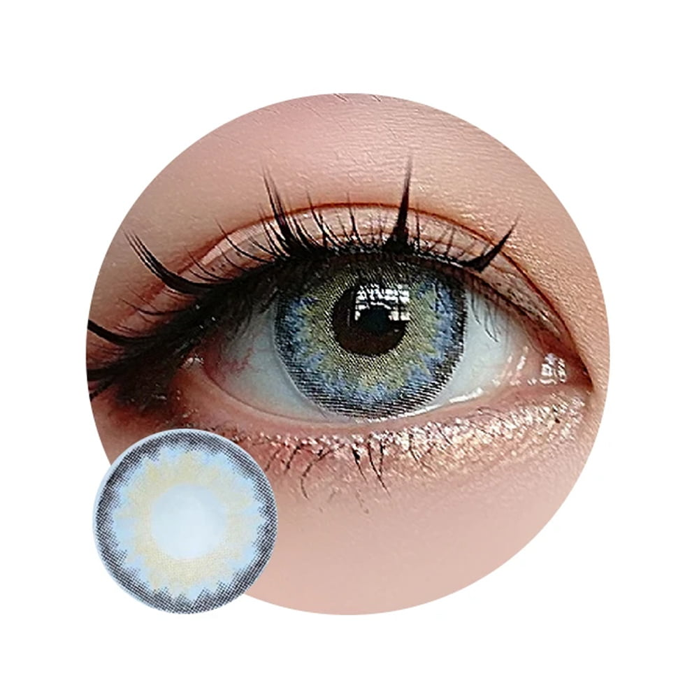 Sweety Infinity Grey. Best coloured contacts for dark eyes.