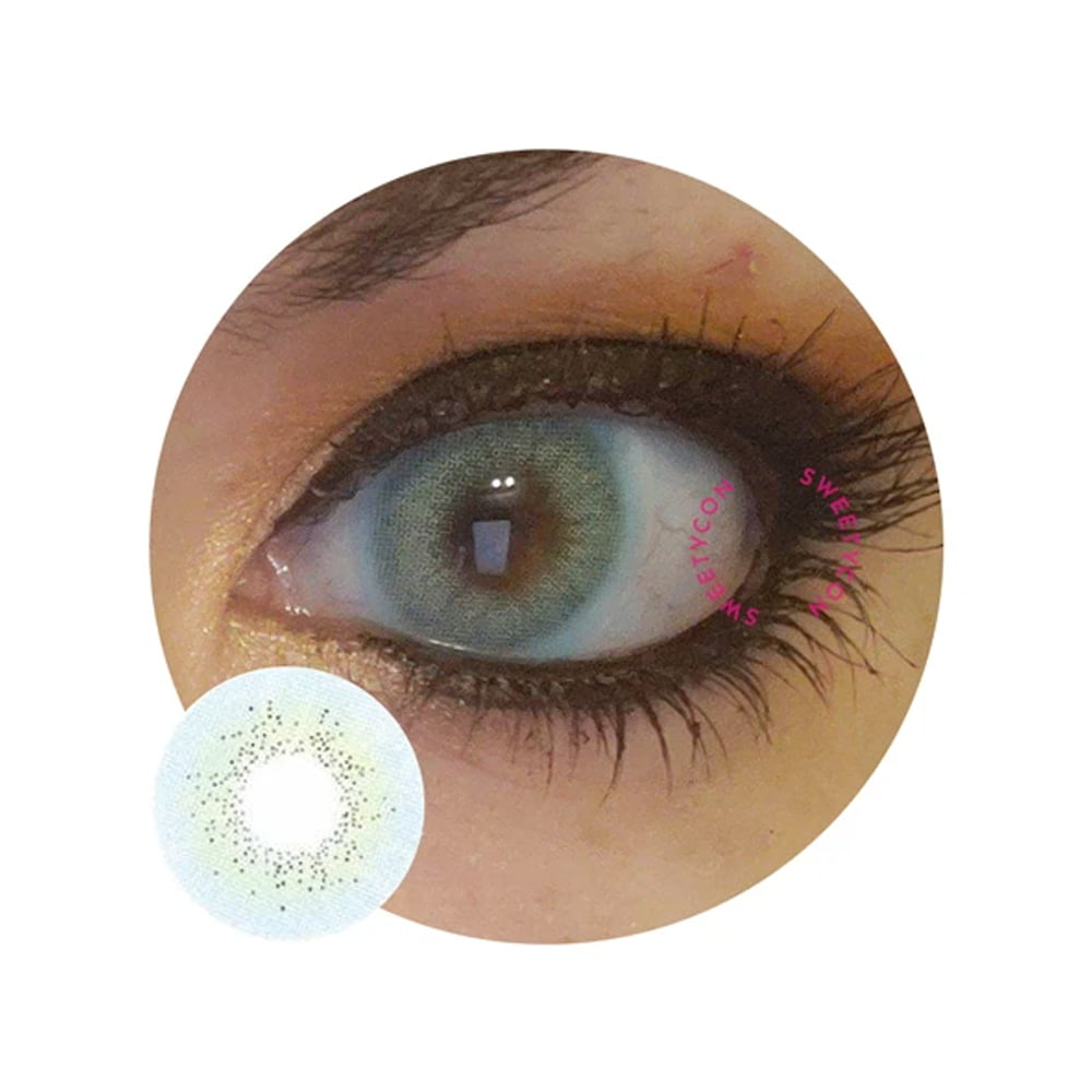 Sweety Ocean Blue. Best coloured contacts for dark eyes.